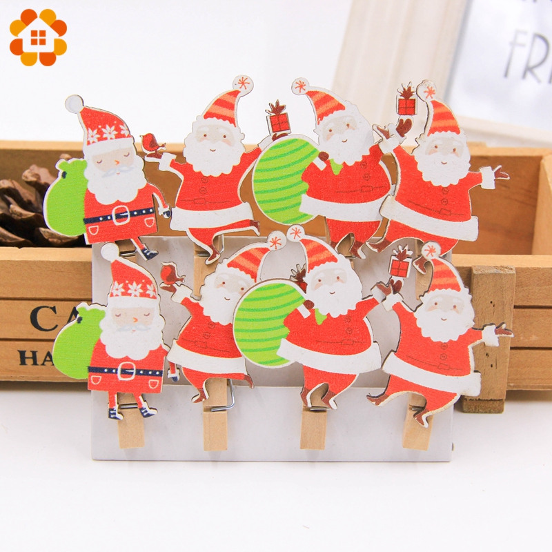 Christmas Party Images Cartoon.Us 1 29 25 Off 1 Set Diy Christmas Cartoon Wooden Clips Crafts Wood Santa Claus Photo Clips For Home Christmas Party New Year Xmas Tree Decor In