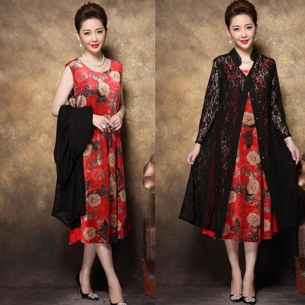 Abiti Eleganti Twin Set.2018 Autumn Middle Age Women Plus Size Elegant Party Dress Twinset