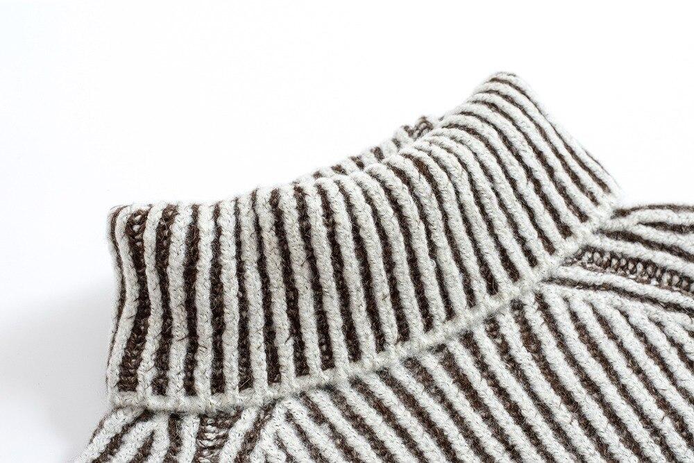 Autunno Pullover Donne Di S Addensare Maglia Righe A Dolcevita Casual Delle Manteau Femme Lavoro Spessa Maglione Hiver l Allentato Eq8tx5gnfw