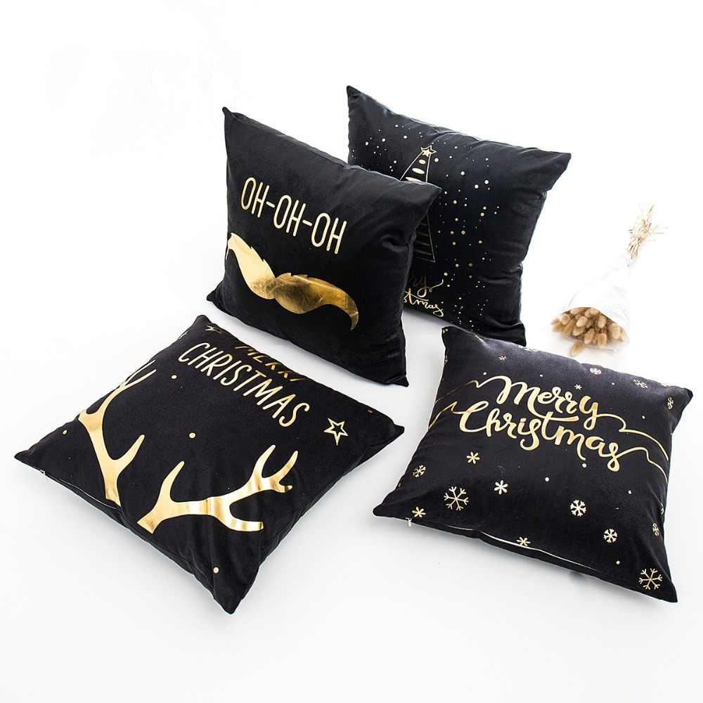 คริสต์มาสหมอน Cushion ครอบคลุม Merry Christmas ตกแต่งสำหรับตกแต่งปีใหม่เครื่องประดับคริสต์มาส Party 2019