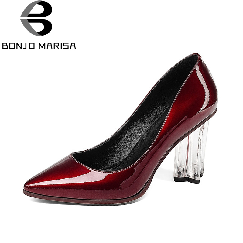 BONJOMARISA New women's Genuine Leather Strange Style High Heels Pointed Toe slip-on Shoes Woman Casual Pumps Size 34-39 nayiduyun women genuine leather wedge high heel pumps platform creepers round toe slip on casual shoes boots wedge sneakers