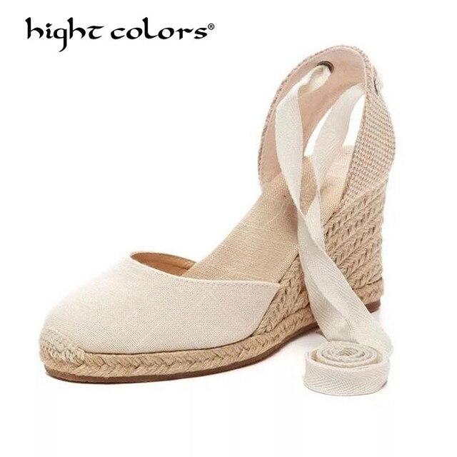 c2e05c4af84 Brand Women Ankle Strap Espadrilles Wedge Sandals 2018 Summer Canvas  Platform Wedges Fashion Lace up Women Platform Sandals T-56