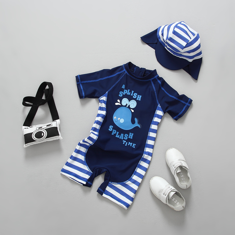 2018 Summer Baby Boy Swimwear One Pieces Boys Swimsuit UPF50 Cute Whale Print Stripes Children Swimsuits Bathing Suit Beachwear in Children 39 s One Piece Suits from Sports amp Entertainment