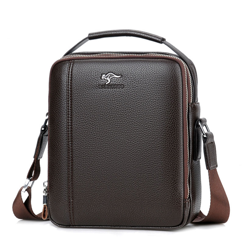 New Kangaroo Brand Men Leather Handbag Casual High Quality Business Briefcase Messenger Bag for Men Large Capacity Crossbody Bag