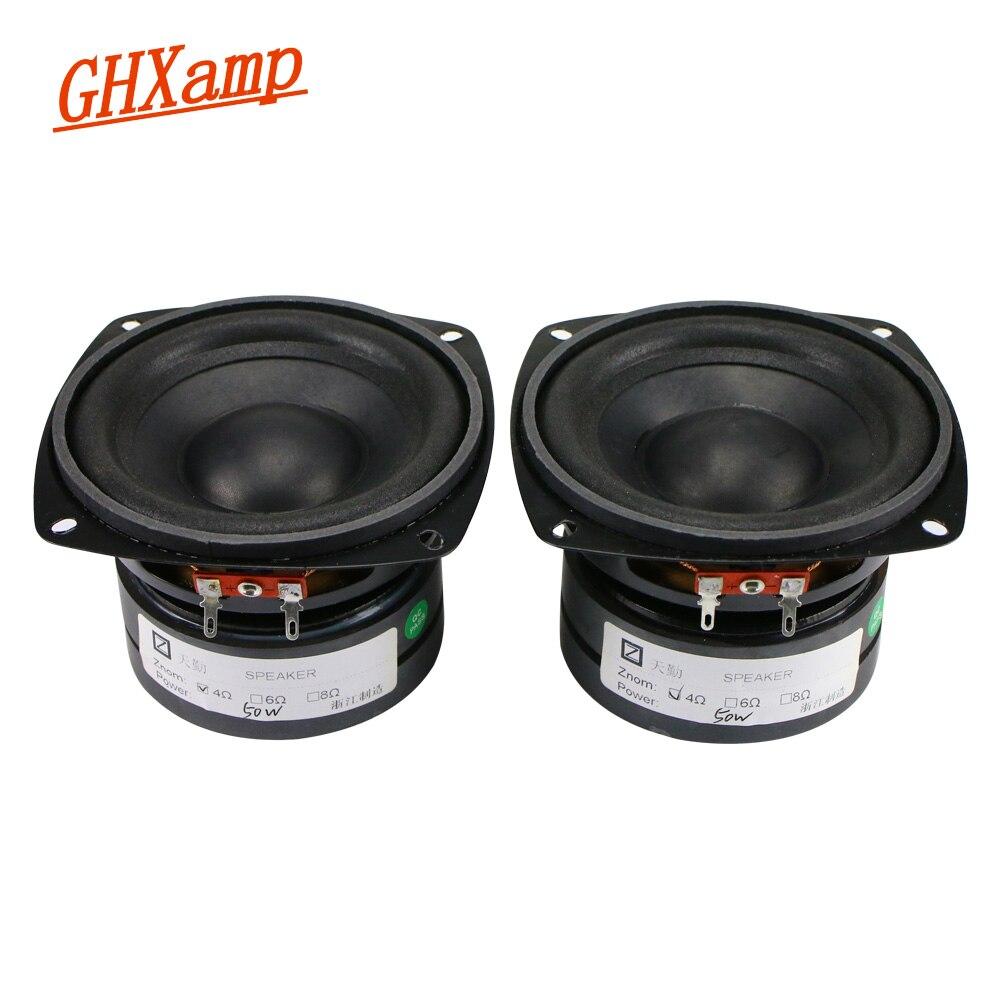2PCS 4 Inch 4OHM 50W Subwoofer Speaker 105mm Bass Long Stroke Auto CD Audio Dual Magnetic