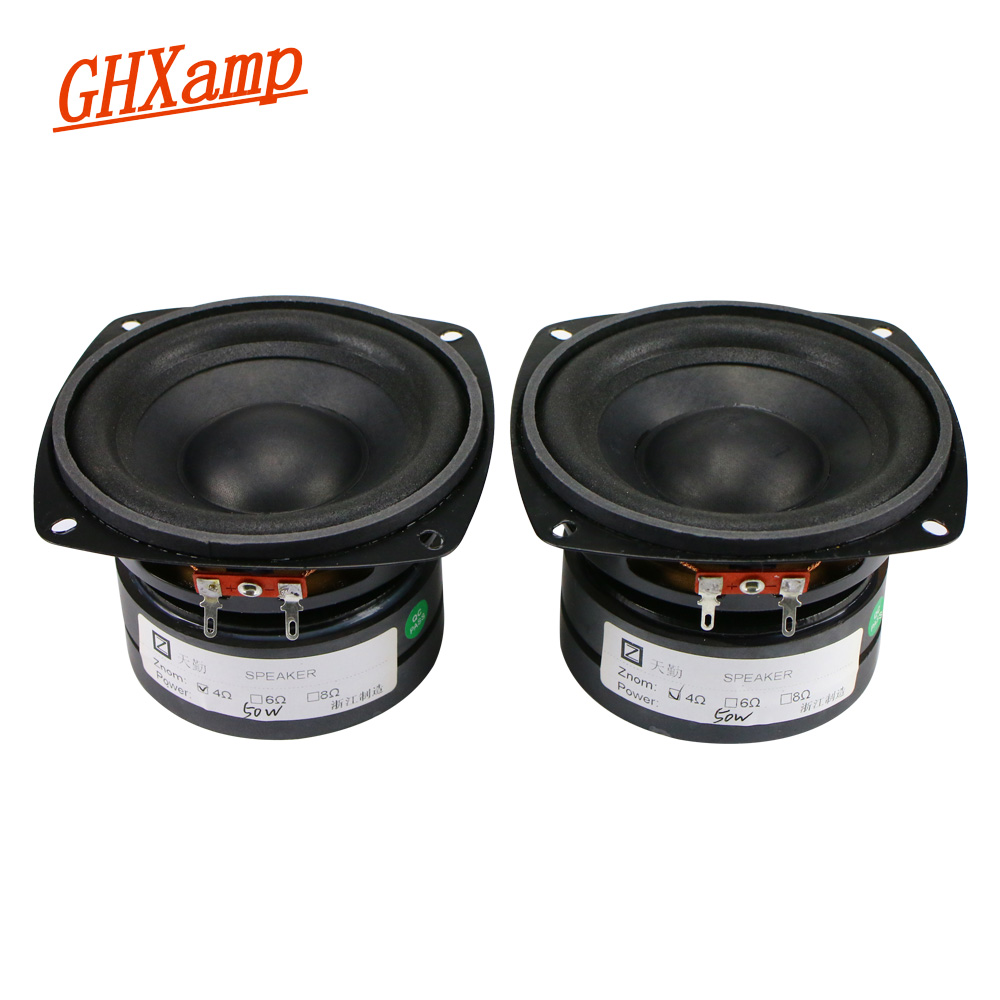 2PCS 4 Inch 4OHM 50W Subwoofer Speaker 105mm Bass Long Stroke Auto CD Audio Dual Magnetic Desktop PC With Heat Dissipation Hole