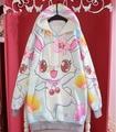 Cute Winter Womens Lolita  Cherry rabbit Bunny Kawaii Loose Hoodie Harajuku Long Sleeve Top Tee Loose Colorful Fairy Kai