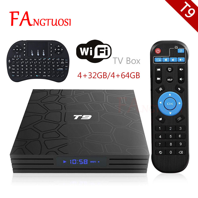 Date T9 Smart TV Box Android 8.1 4 gb 64 gb RK3328 Quad Core HD 4 gb 32 gb tv boîte WIFI Bluetooth Media Player 4 k USB Set Top box