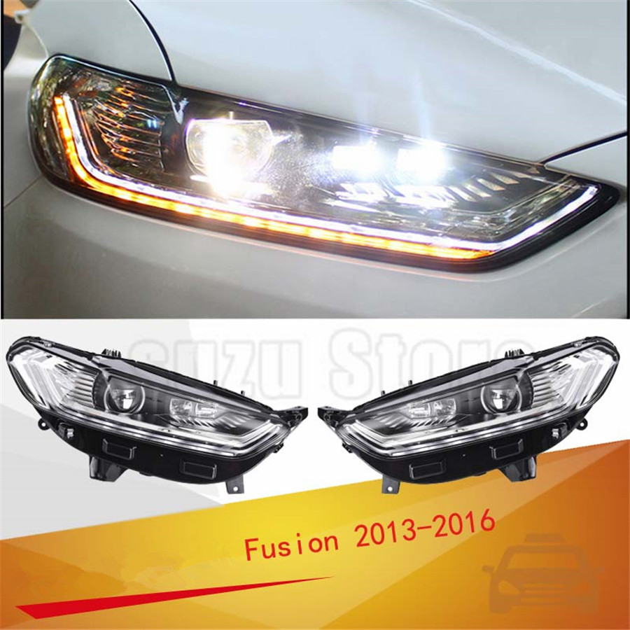 Golkar high quality led headlight drl h7 d2h hid option bi xenon led high beam for ford mondeo headlight 2013 2016 mondeo fusion