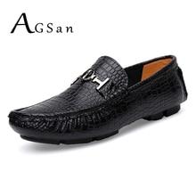 Agsan крокодил Лоферы Мужская Роскошная ручной работы натуральная кожа обувь для вождения большие размеры 50 49 48 47 12.5 12 11.5 11 10.5 Мокасины