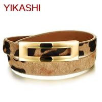 Gorgeous Double Layer Cowhide Leather Bracelet For Women Bar Leopard Color Charm Snap Fastener Length Adjustable Warp Wristband