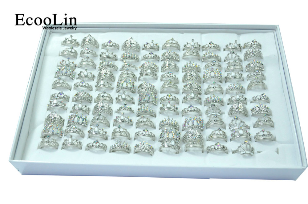 Image 3 - 50Pcs EcooLin Jewelry Fashion Zircon Shiny Crown Silver Plated Rings Lots For Women Bulk Packs LR4024-in Rings from Jewelry & Accessories