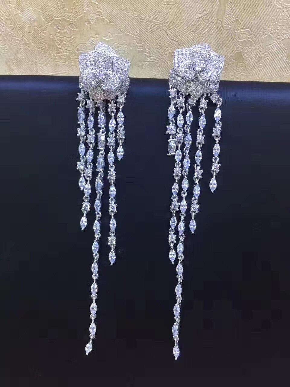 long tassels earrling top quality 925 sterling silver with cubic zircon flower drop earring fashion women