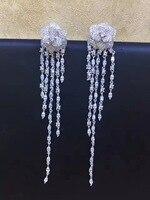 Длинные кисточки earrling наивысшего качества 925 серебро с фианит цветок серьги падения Женская Мода Jewely Бесплатная доставка