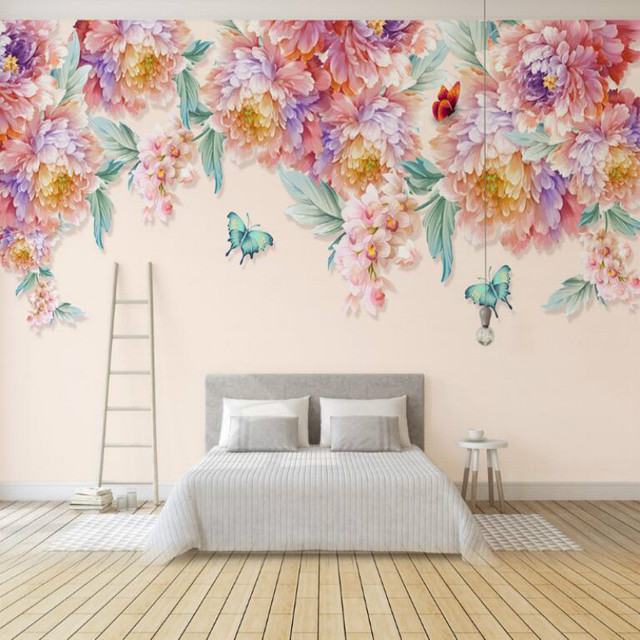 Hand Painted Flower Erfly Wall Wallpaper For Bar Ktv Custom Paper Vintage Decorative Painting Muarl