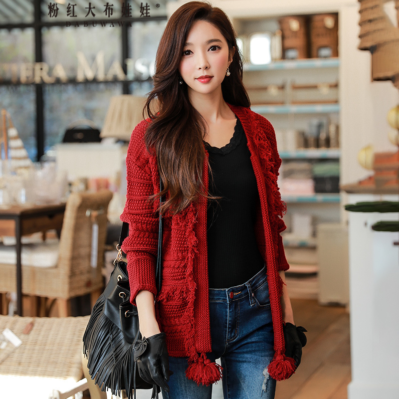 original 2018 spring sweater coat female new casual elegant tassel crew neck long-sleeved red knitted cardigan women wholesale