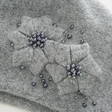 Women Hat knitted With Rhinestones