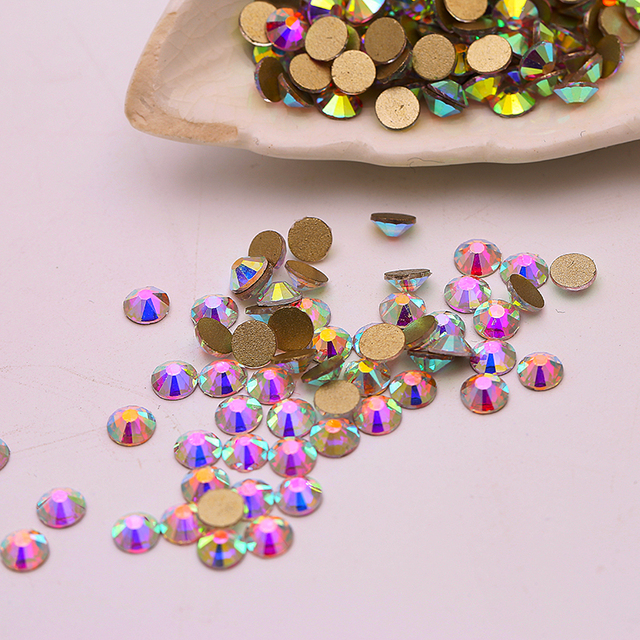 Quan gold back Rhinestone crystal AB color SS3-SS40 flat back non hot fix  rhinestones nails decoration for nail art 59ea5f2a5a4d