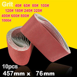 10Pcs 76*457mm Abrasive Sanding Belts 40-1000 Grits Abrasive Bands for Sander Power Tools