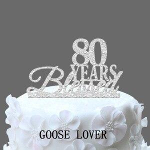 80TH День рождения/юбилейный торт Топпер персонализированные 80 лет Blessed торт Топпер, пользовательские Год элегантный торт Топпер, Винтаж