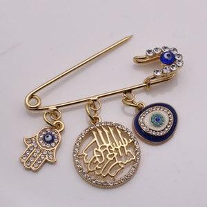 Image 3 - W imię allaha mercifu turecki evil eye hamsa ręka fatimy broszka ze stali nierdzewnej dziecko pin zaakceptować drop shipping