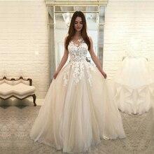 מקסים סקופ שמלות כלה 2019 שרוולים תחרה טול Vestido דה Noiva נסיכת כלה שמלה