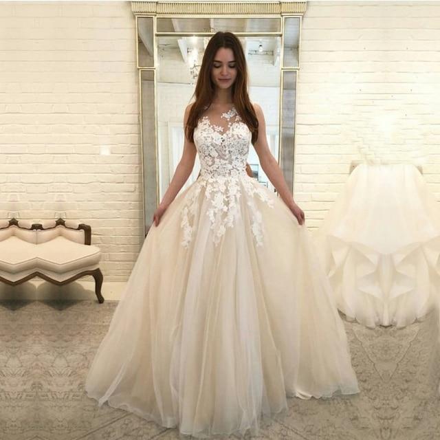 Büyüleyici Scoop Gelinlik 2019 Kolsuz Dantel Tül gelin kıyafeti Vestido de Noiva Prenses gelinlik