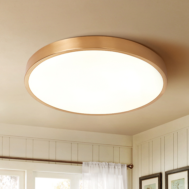 study room Ultra-thin Led ceiling light  All-copper Circular Ceiling Lamp Living Room Bedroom Lamp Corridor Modern office Lamps