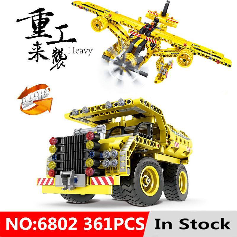 Technic Series 2 in 1 Construction Truck Airplane City Kits Model Building Block Toys For Children Gift
