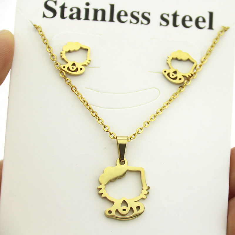 NEW Pink White Lucky Cat Kitten Pendant Gold Necklace Chain Women Jewelry Gift