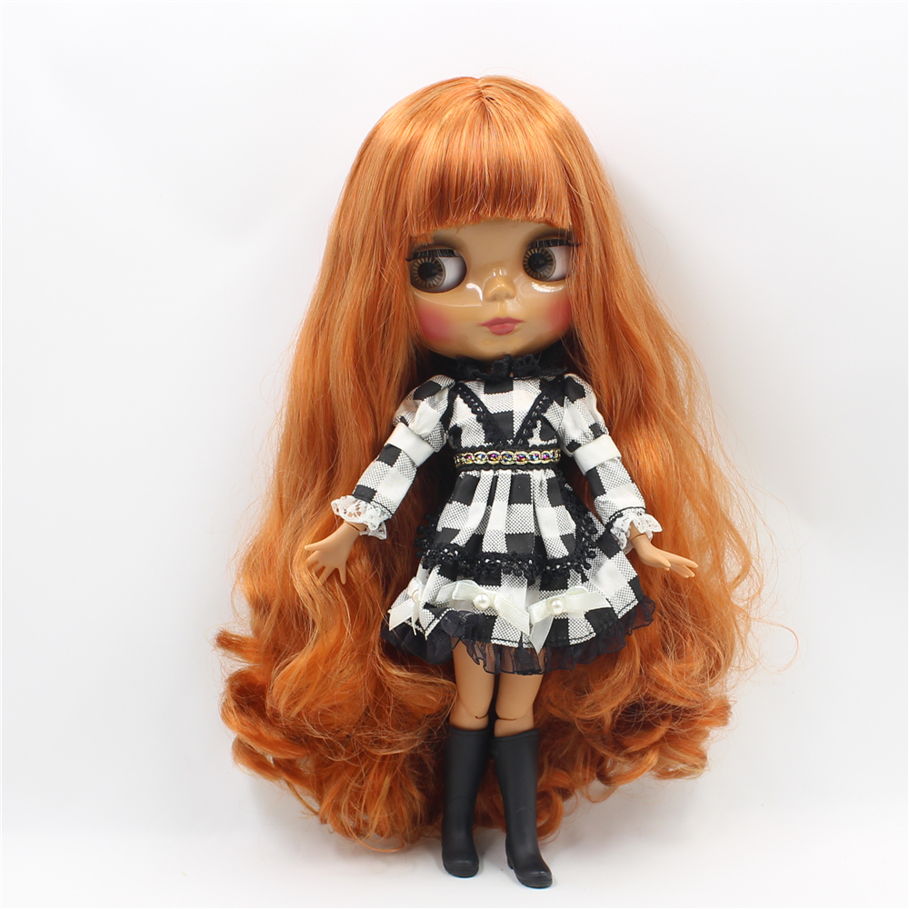 Blyth nude doll Brown Wavy Hair with bangs dark skin joint body DIY makeup doll 1/6 bjd blyth dolls for sale 12 blyth nude doll k 180 black hair bjd blyth doll for sale