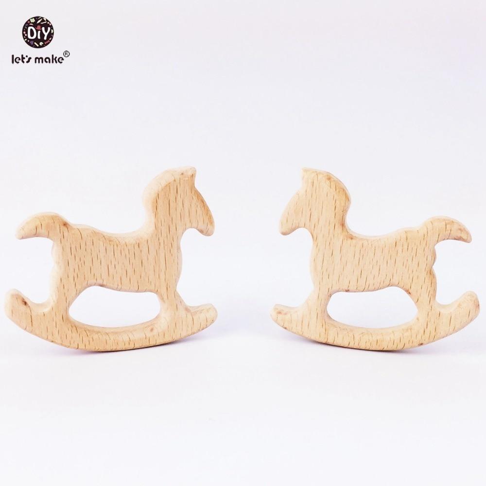 Lets make baby teether Crafts wooden horse toys 5PC wooden teether toys for baby rocking horse teether for infants