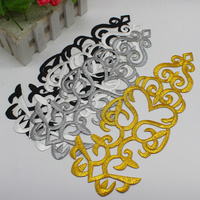 Gold Embroidered Appliques Iron On Cosplay   Lace   Trims Vintage 5 Pcs Dress Costume Performance Patches Gold And Silver 29*11cm