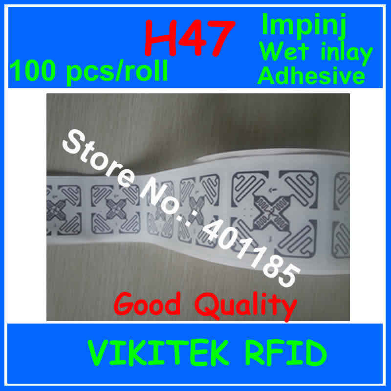 Adhesive Wet Ture 3D Inlay Impinj H47 Sticker UHF RFID 100pcs 860-960MHZ Monza4 915M EPC C1G2 ISO18000-6C Can Be Use Rfid Tag