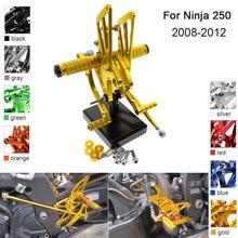 купить CNC Aluminum Adjustable Rearsets Foot Pegs For Kawasaki Ninja 250 EX250 2008 2009 2010 2011 2012 дешево