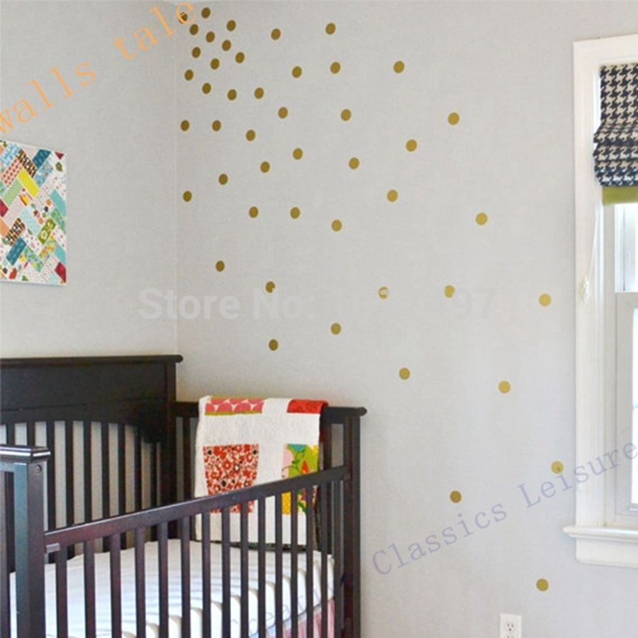 Free shipping variety of sizes gold vinyl wall sticker for Gold polka dot china