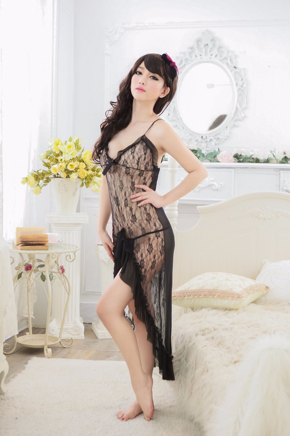 2017 Sexy Lingerie Hot Black Pajamas Long Dress V Neck Lace Dress Sexy Erotic Lingerie Skirt Sexy Costumes Underwear For Women
