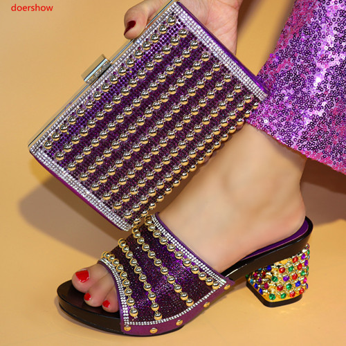 doershow Italian Design Shoes and Bag To Match Set African Shoes And Bag Set For Party Nigerian Women Fashion Shoes!PR1-8 doershow new arrival shoes and bag to match italian summer african style shoes and bag set italy ladies shoes and bag as1 33
