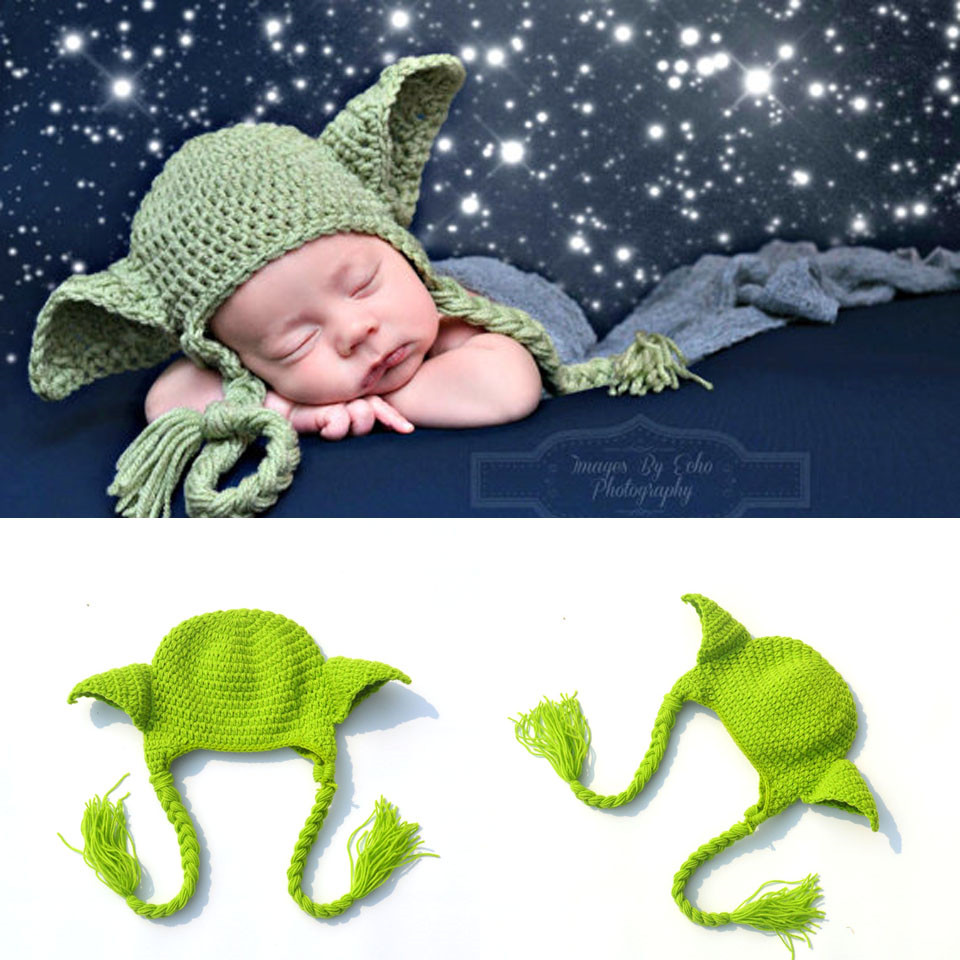 Hot! Star Wars Yoda Hats Beanie Crochet Toddler Kids Yoda Hats Knitted BABY Cartoon Hat Caps with Earflaps Photo Props MZS-16029