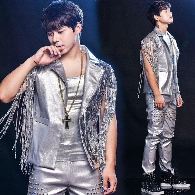 Silver Jazz Dance Costume Sequin Stage Wear For Nightclub Men Singers Tassel DJ DS Hip Hop Gogo Performance Clothing DNV10461