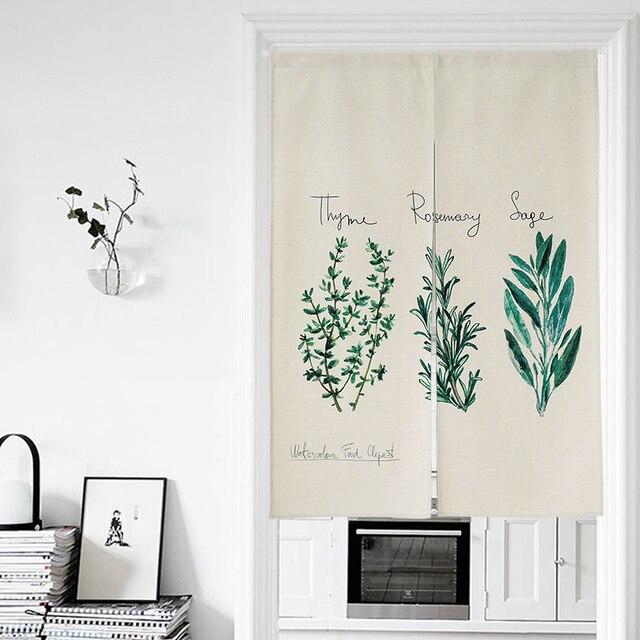 US $42.19  Nordic Stile di Cotone di Tela Tende Porta Pianta Verde Stampe  Giappone Noren Cucina/Camera Da Letto Divisore Caffè Negozio di Partizione  ...
