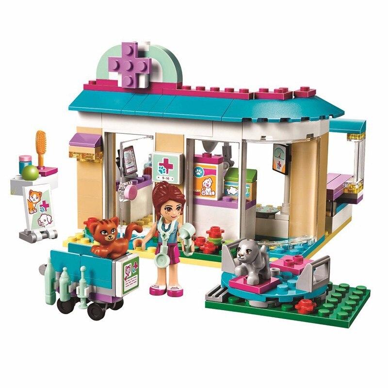 203 stücke Freunde serie Pet Krankenhaus Tierarzt Klinik Bausteine lernspielzeug Kompatibel mit LegoINGly Freunde