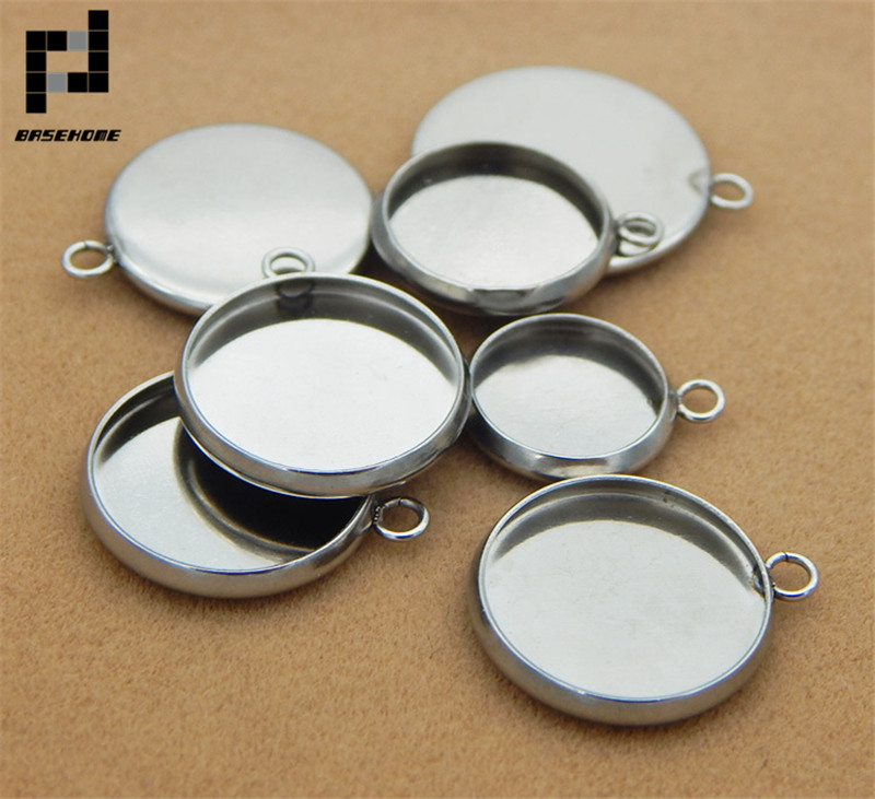 BASEHOME 20pcs Stainless Steel Pendant Settings Cabochon Base Bezel Trays Blank Fit 6/8/10/12/14/16/18/20mm Cabochons Cameo DIY цена