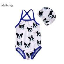 1-6Y Kids Baby Girl Boys Matching Bodysuit shorts Hat Swimsuit Swimwear Bulldog Swimming suit Swim for baby girl boy