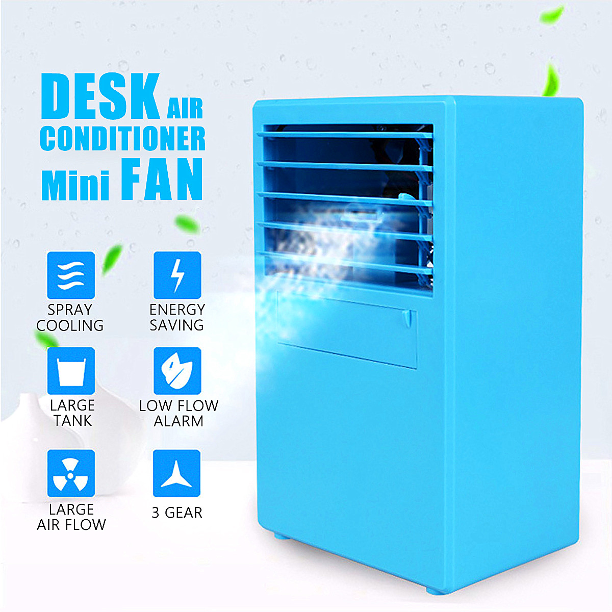 Mini Desktop Air Conditioner Fan Cooling Humidifying Air Cooler Blue/White самокаты скейты и ролики strong sm solid white air blue