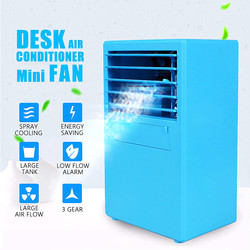 Mini Desktop Air Conditioner Fan Cooling Humidifying Air Cooler Blue/White