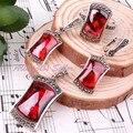Frete grátis moda 10 X 15 / 8 X 15 / 12 X 20 MM consideravelmente vermelha CZ cristal de prata tibetano EARRINS anéis pingente 1 conjunto