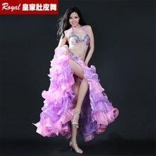 Ny vacker bukdansdräkt professionell bellydance klänning bär stor expansion full kjol prestanda kostym: BRA & bälte och kjol set