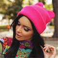Las mujeres Gato de La Manera Mezcla De Algodón, poliéster Diablo Cuernos Del Oído de Gato Lindo Crochet Trenzado Knit Beanie Ski Lana Caliente Cap Hat
