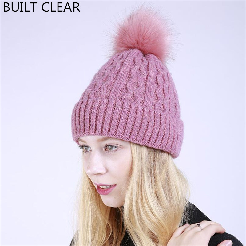 2017 autumn and winter new solid color curling jacquard knitted soft warm female hat imitation rabbit hair ball plus velvet hat rabbit hair lady autumn winter new weaving small pineapple fur hat in winter to keep warm very nice and warm comfortable